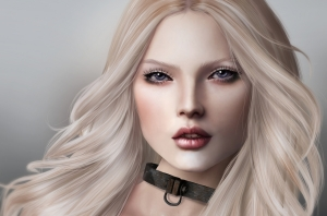 red-lips-girl-blonde-face-leash-portrait-rendering-art